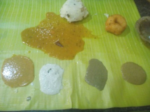 Pongal served with vada, various chutneys and sambhar