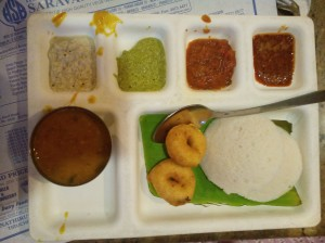 Idli-vada with podi and ghee, 3 types of chutney and sambhar